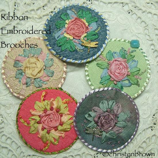 ribbon embroidered brooch