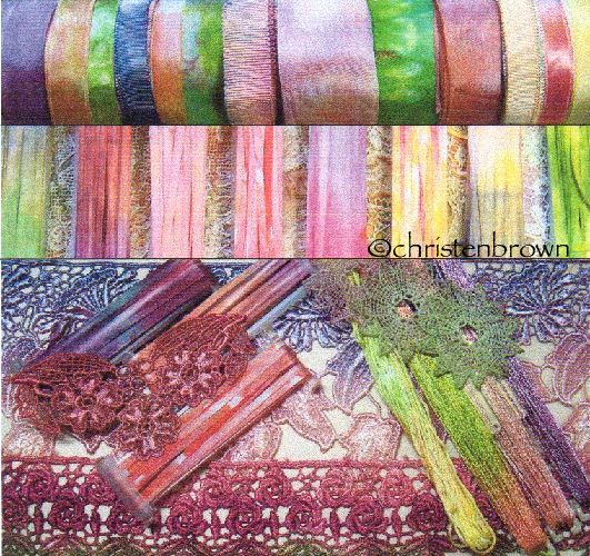 dyed lace, ribbon, and threads