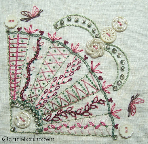stitch along sampler block 6