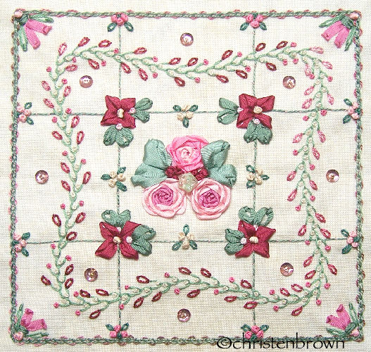 stitch along sampler block 9