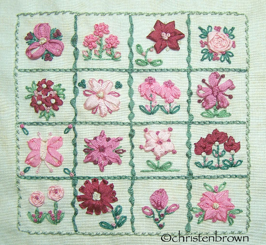 stitch along sampler block 5