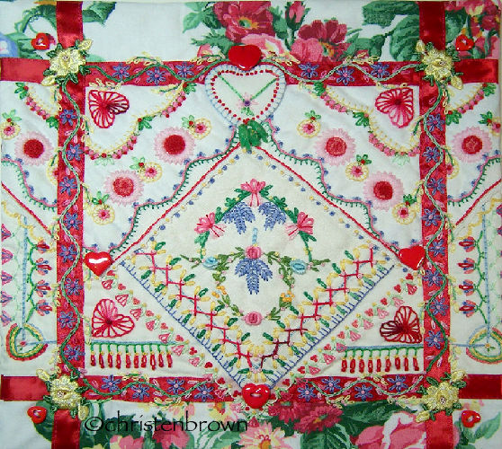 hankies and lace wall hanging