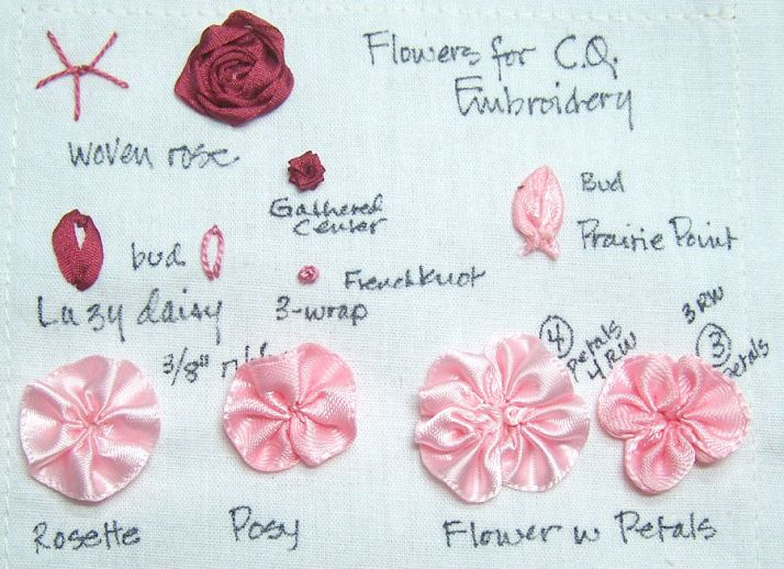 sampler of ribbonwork and silk ribbon embroidery